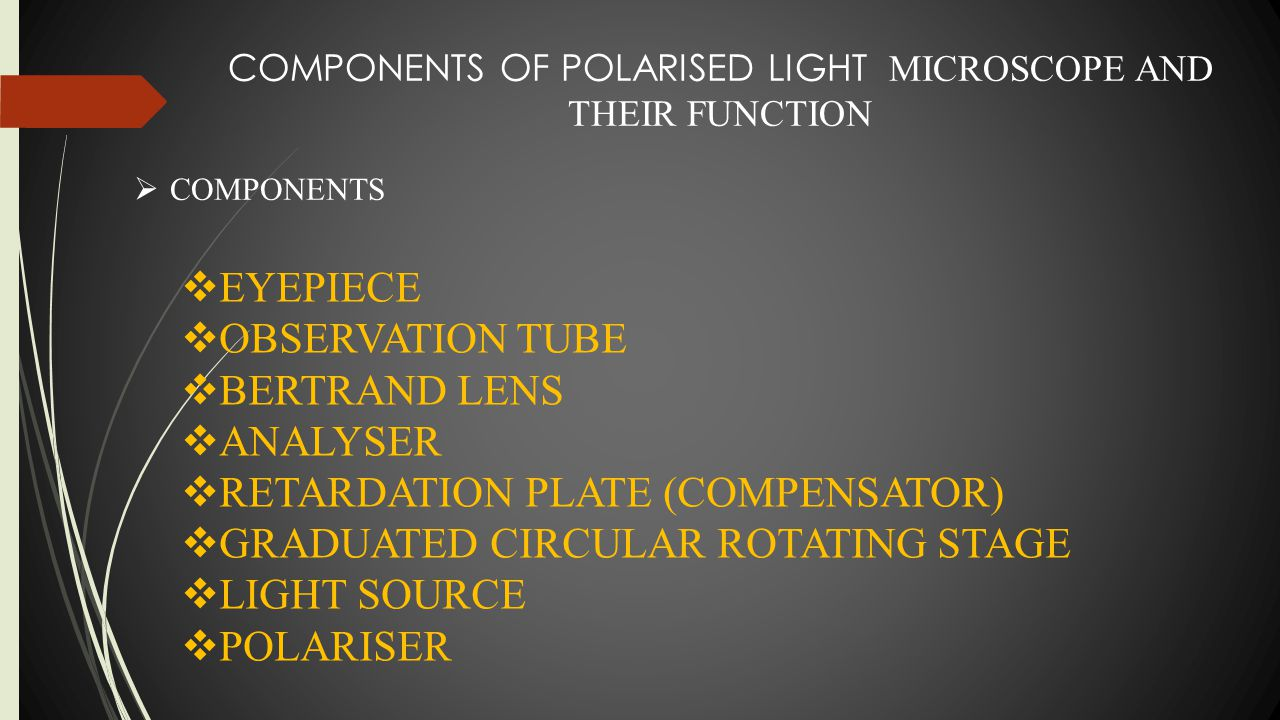 COMPONENTS OF POLARISED LIGHT MICROSCOPE AND THEIR FUNCTION