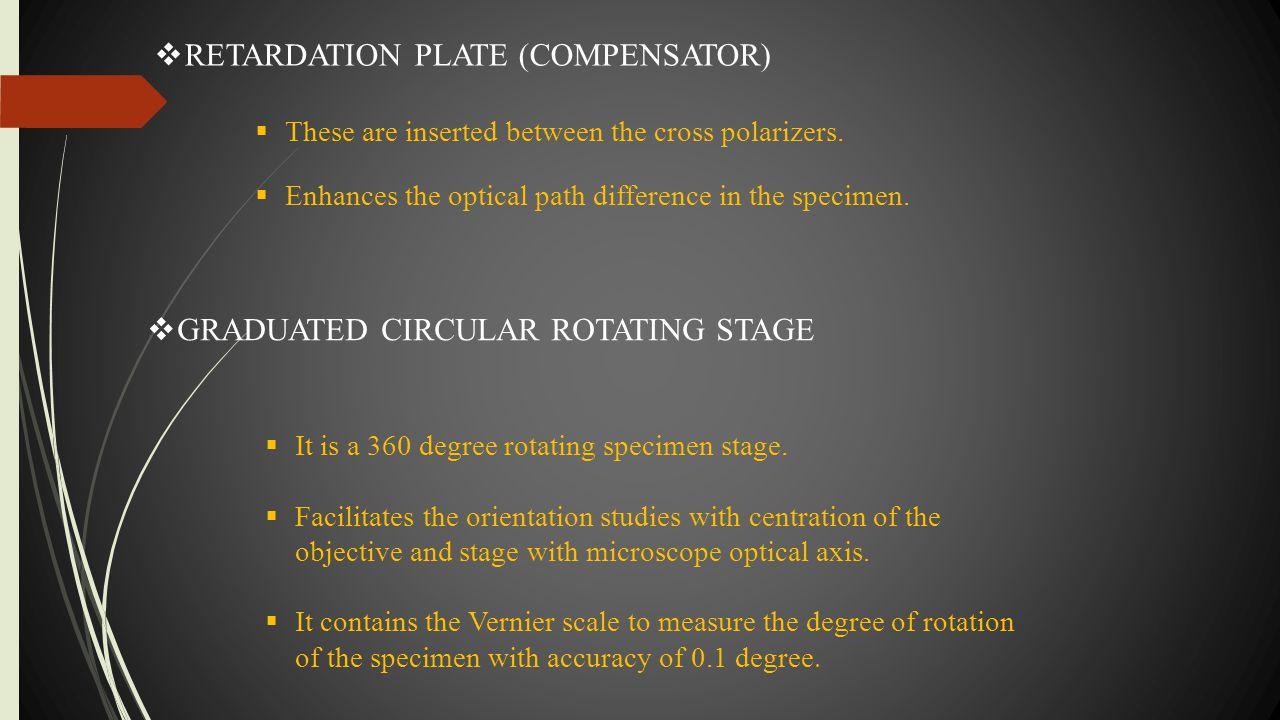 RETARDATION PLATE (COMPENSATOR)
