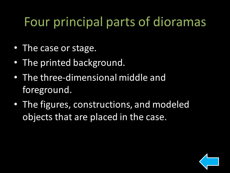 Four principal parts of dioramas