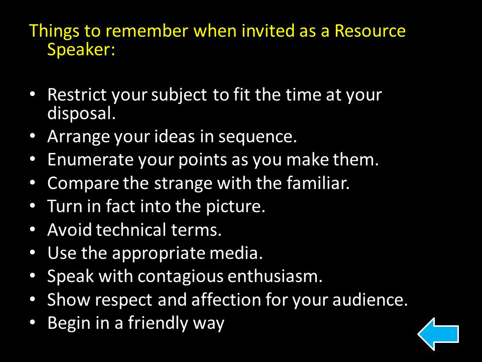 Things to remember when invited as a Resource Speaker: