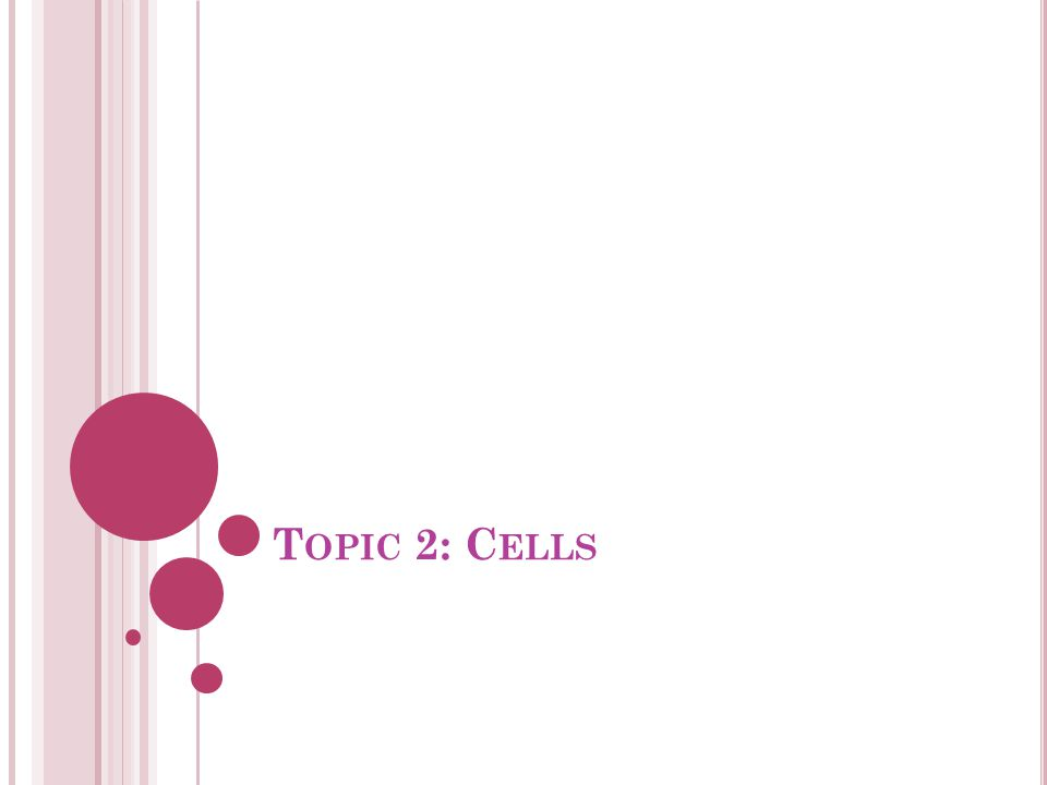 Topic 2: Cells