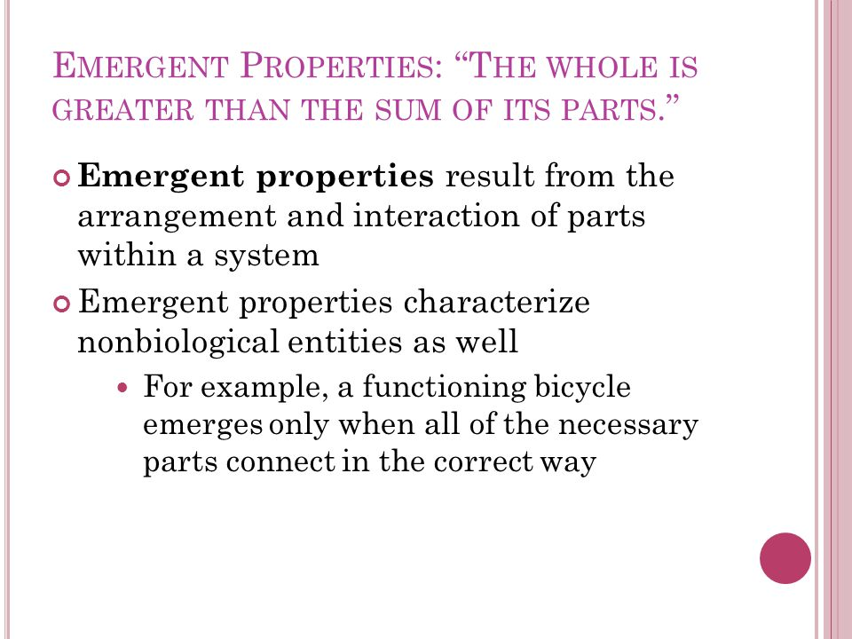 Emergent Properties: The whole is greater than the sum of its parts.