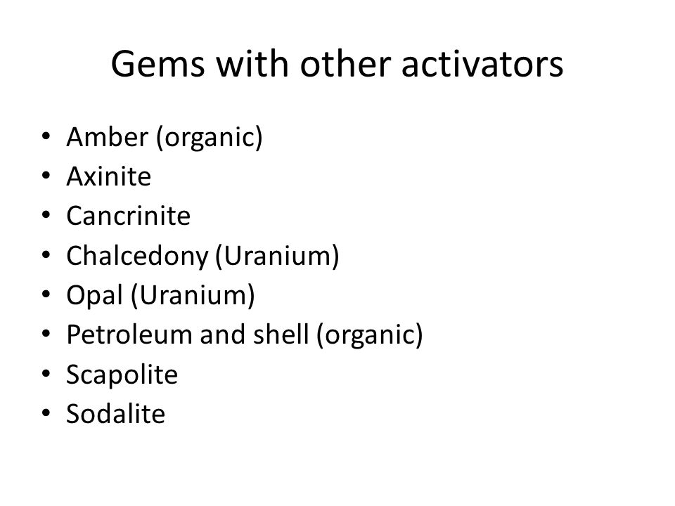 Gems with other activators