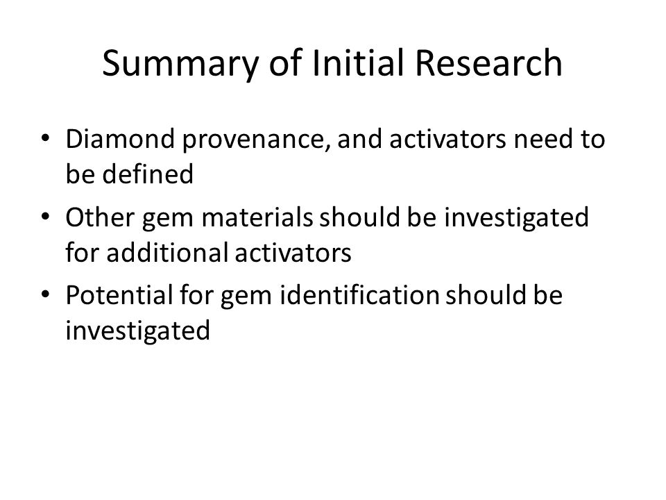 Summary of Initial Research