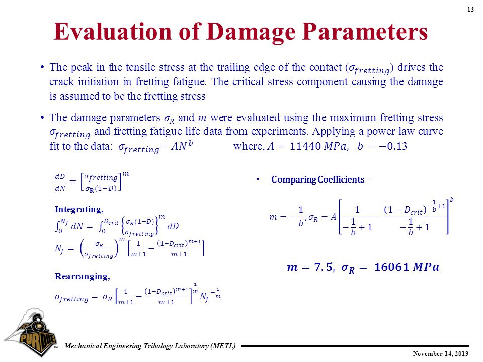 Evaluation of Damage Parameters