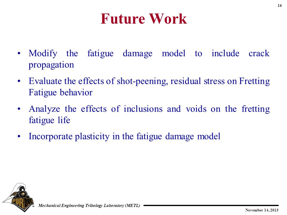 Future Work Modify the fatigue damage model to include crack propagation.