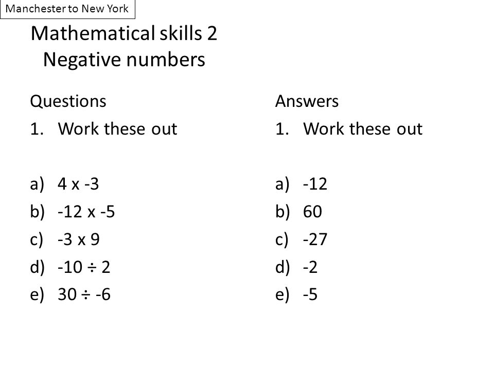 Mathematical skills 2 Negative numbers