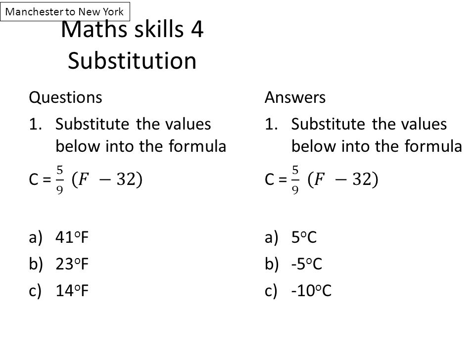 Maths skills 4 Substitution