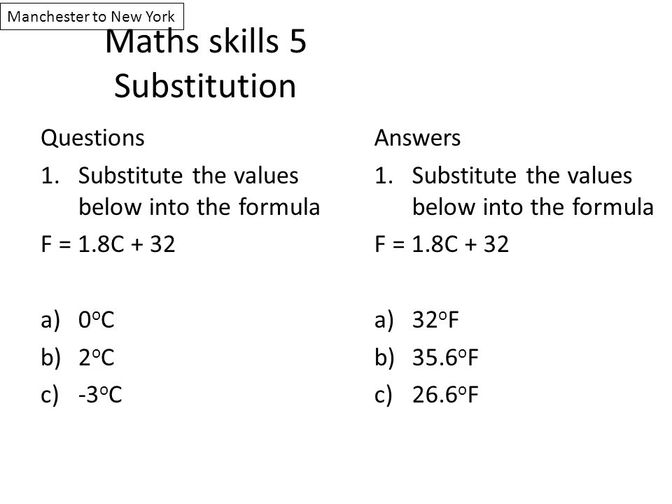 Maths skills 5 Substitution