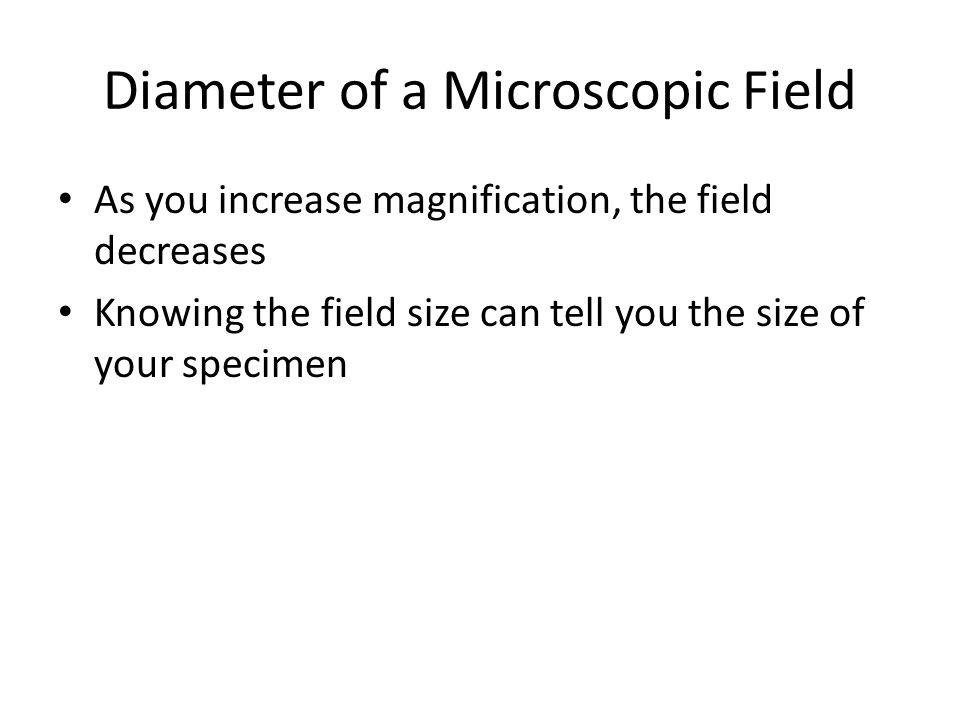 Diameter of a Microscopic Field