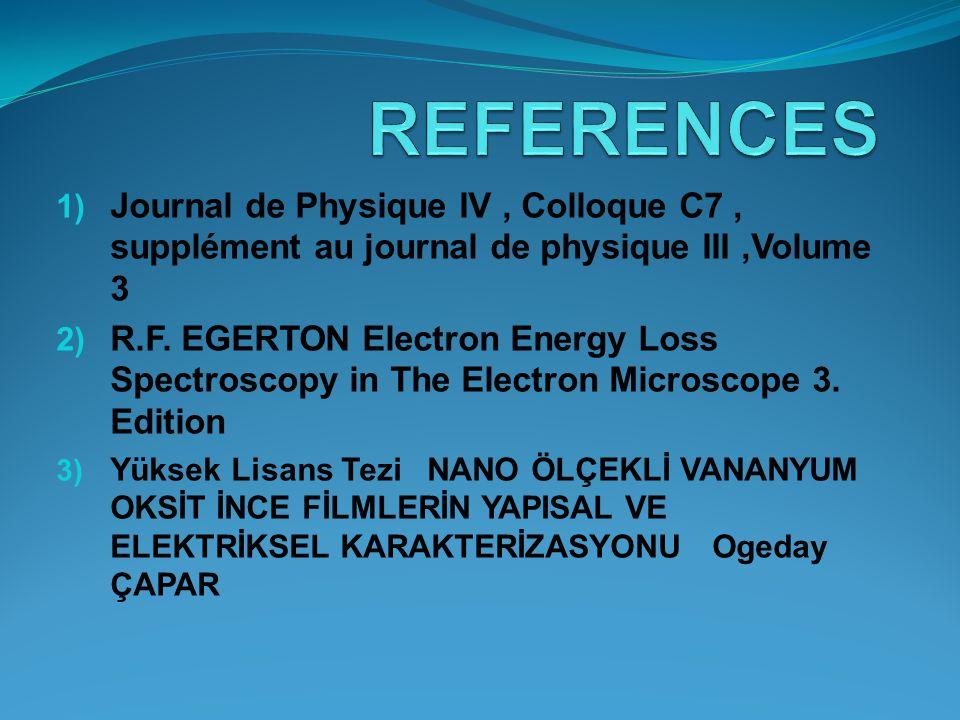 REFERENCES Journal de Physique IV , Colloque C7 , supplément au journal de physique III ,Volume 3.