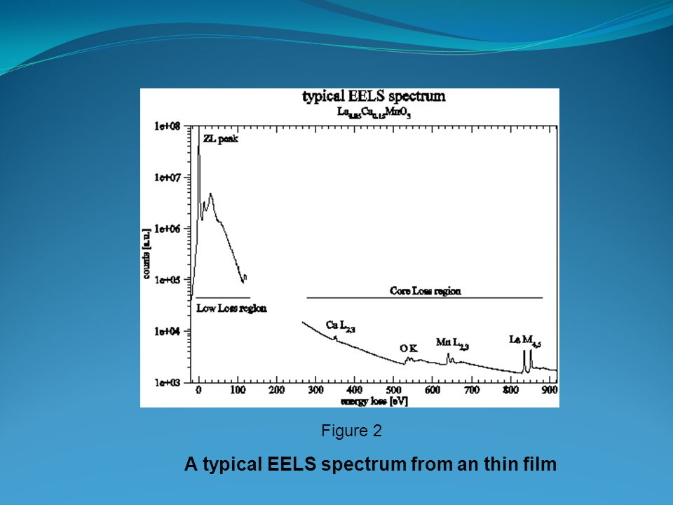 A typical EELS spectrum from an thin film