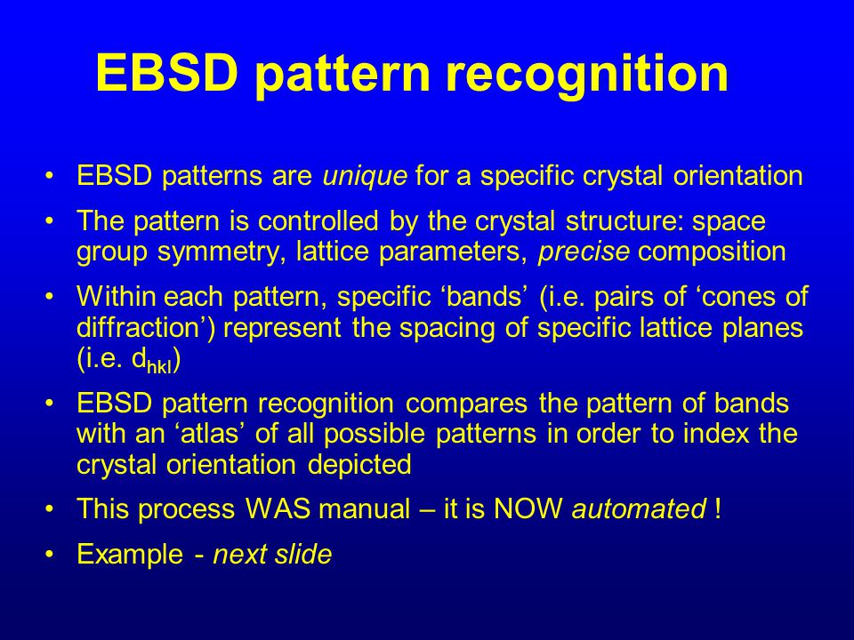 EBSD pattern recognition