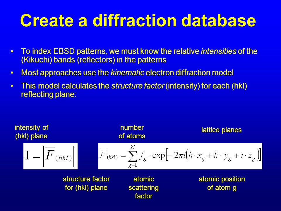 Create a diffraction database