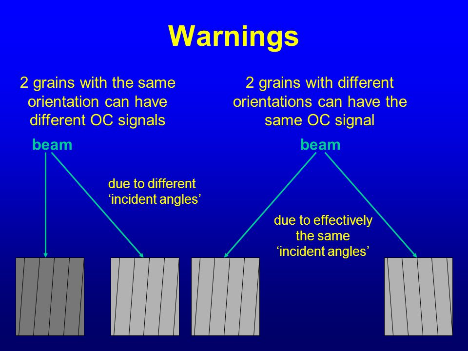 Warnings 2 grains with the same orientation can have different OC signals. 2 grains with different orientations can have the same OC signal.