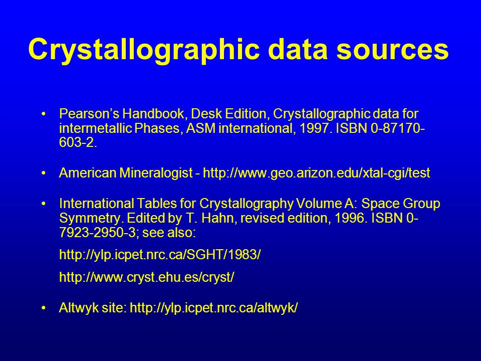 Crystallographic data sources