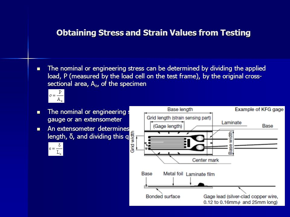 Obtaining Stress and Strain Values from Testing