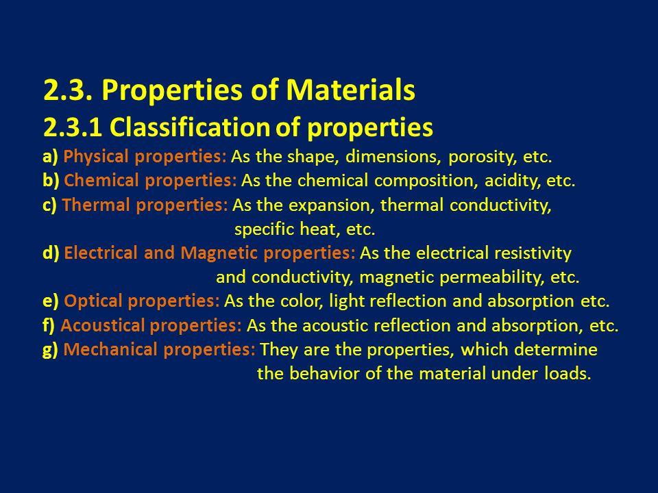 2.3. Properties of Materials