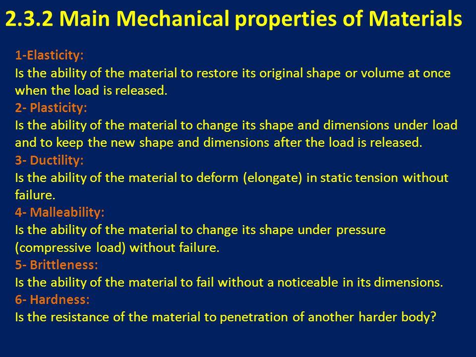 2.3.2 Main Mechanical properties of Materials