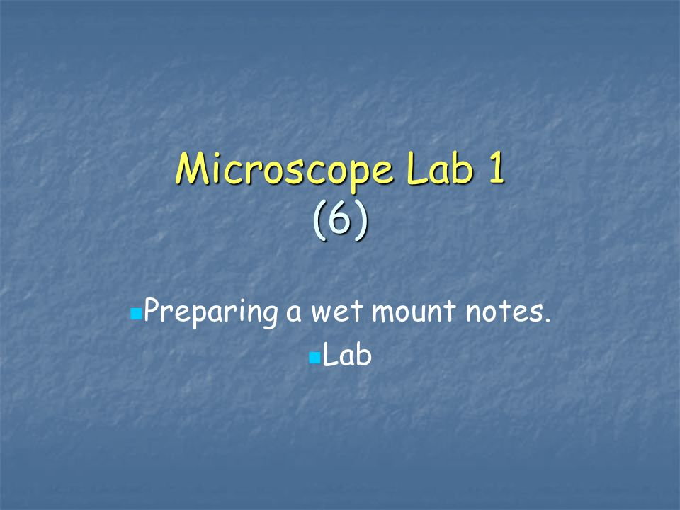 Preparing a wet mount notes. Lab