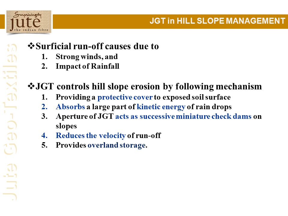 Surficial run-off causes due to