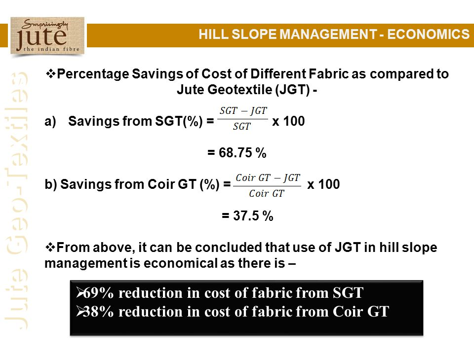 69% reduction in cost of fabric from SGT