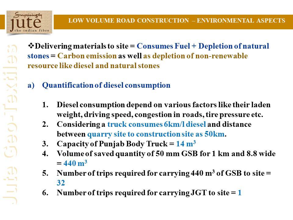 Quantification of diesel consumption