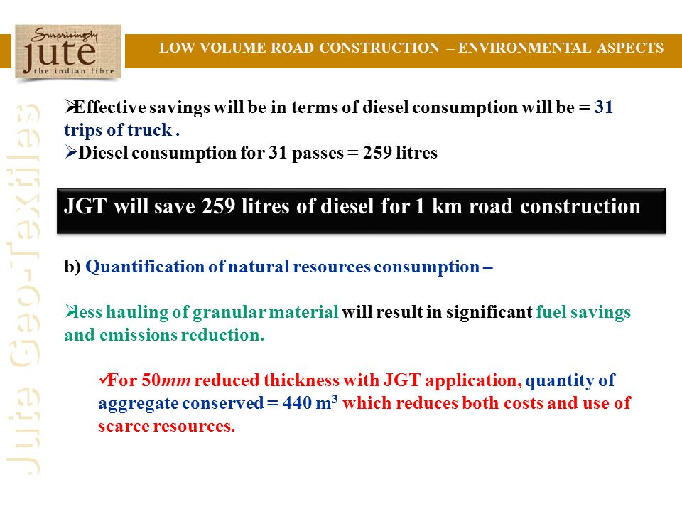 JGT will save 259 litres of diesel for 1 km road construction