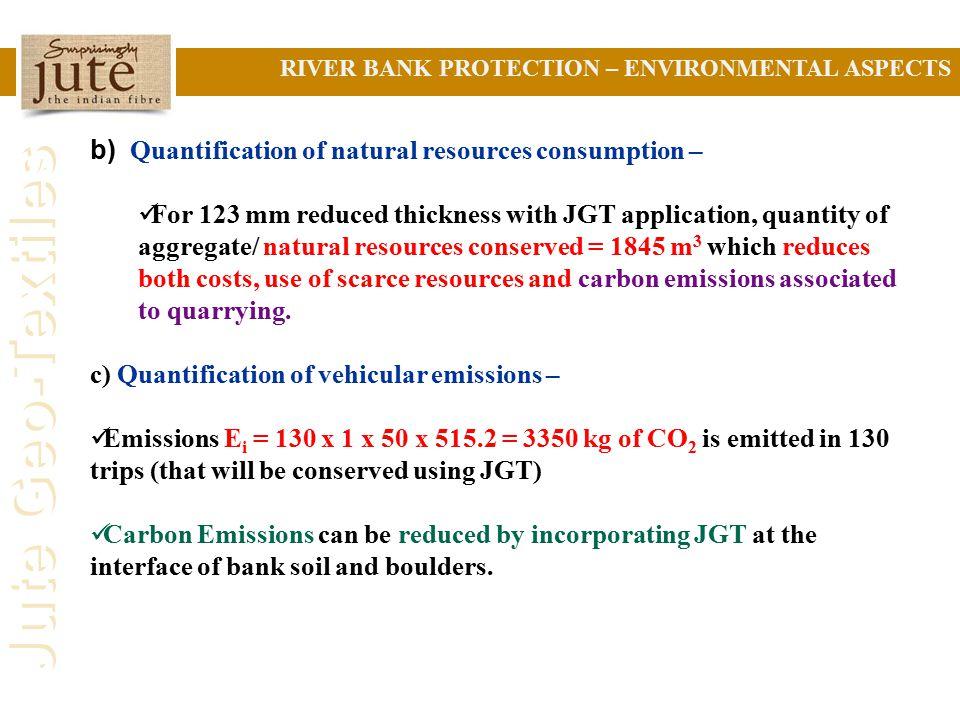 b) Quantification of natural resources consumption –