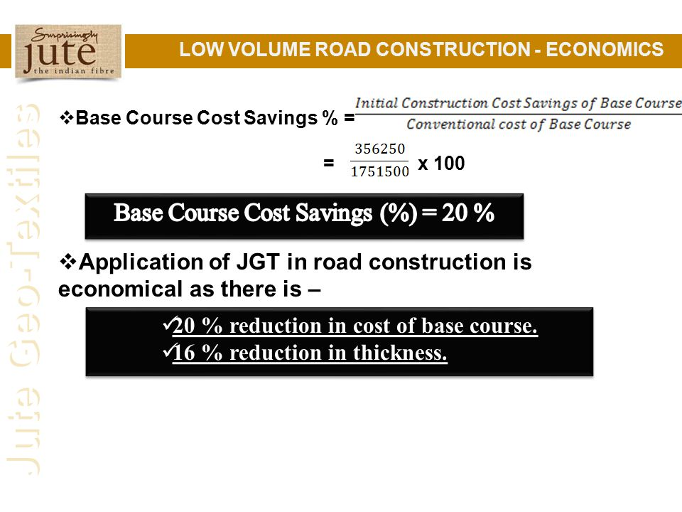 Base Course Cost Savings (%) = 20 %