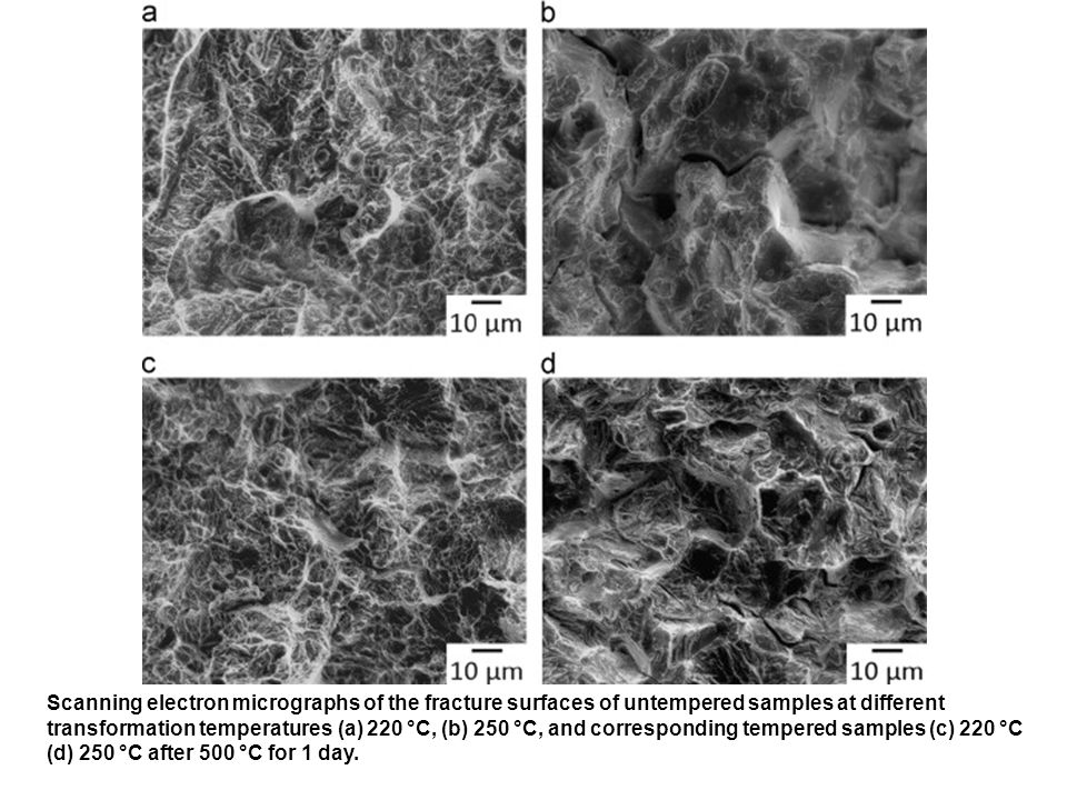 Scanning electron micrographs of the fracture surfaces of untempered samples at different transformation temperatures (a) 220 °C, (b) 250 °C, and corresponding tempered samples (c) 220 °C (d) 250 °C after 500 °C for 1 day.