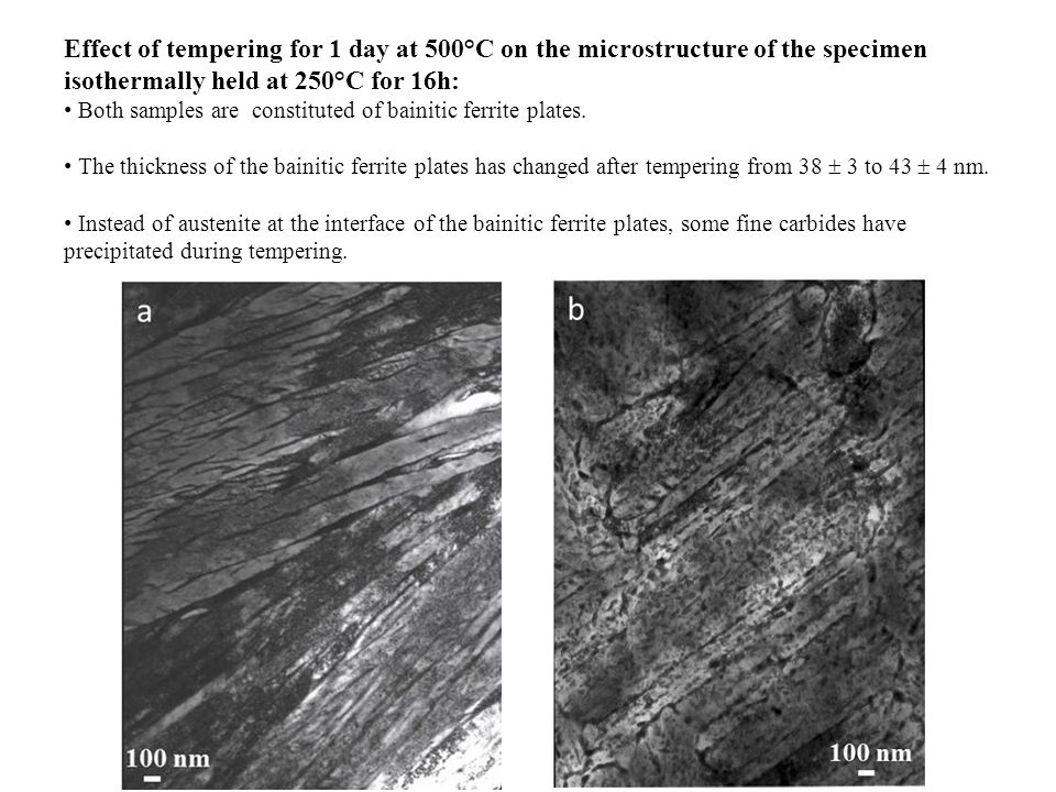 Effect of tempering for 1 day at 500°C on the microstructure of the specimen isothermally held at 250°C for 16h: