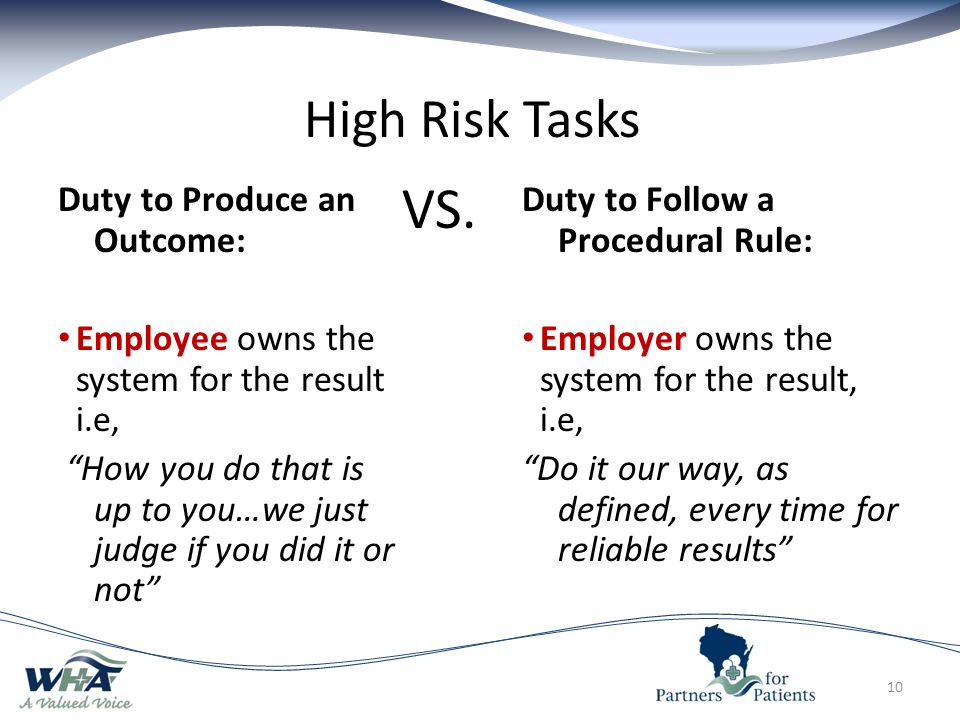 VS. High Risk Tasks Duty to Produce an Outcome: