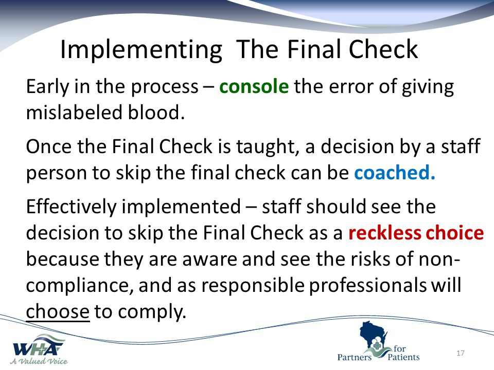 Implementing The Final Check