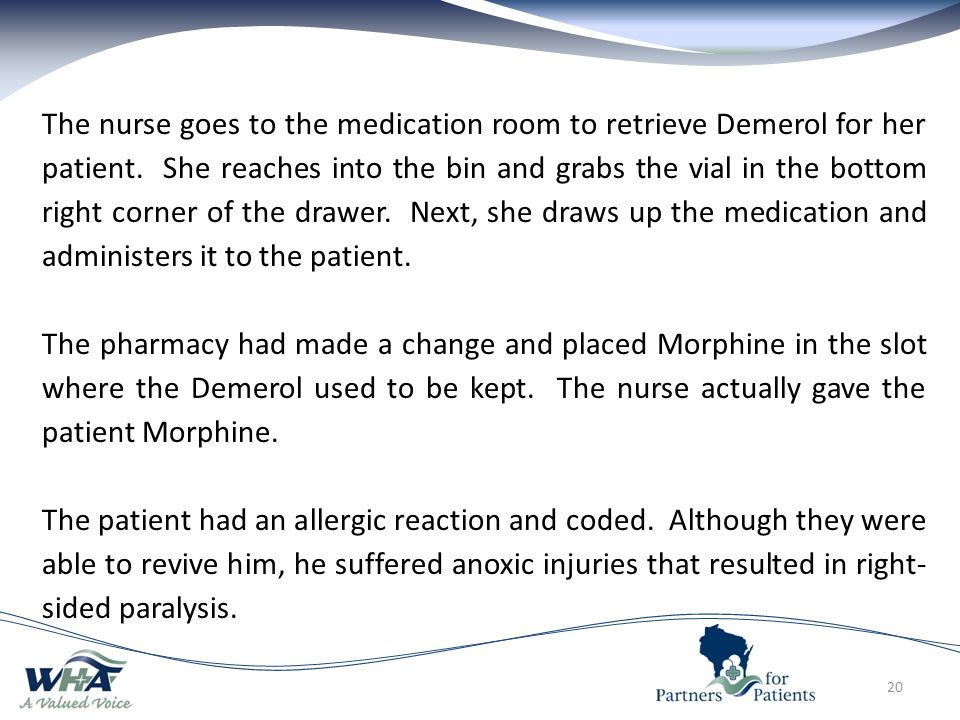 The nurse goes to the medication room to retrieve Demerol for her patient. She reaches into the bin and grabs the vial in the bottom right corner of the drawer. Next, she draws up the medication and administers it to the patient.
