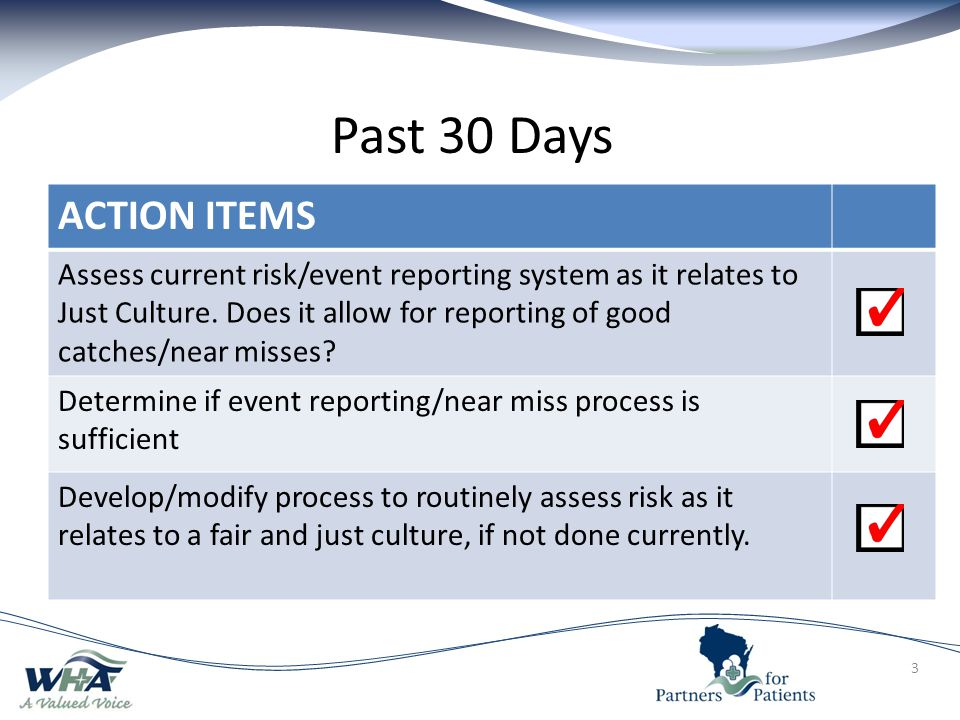 Past 30 Days ACTION ITEMS.