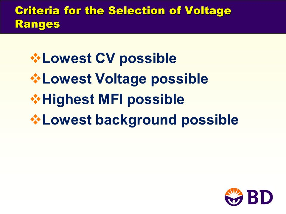 Criteria for the Selection of Voltage Ranges