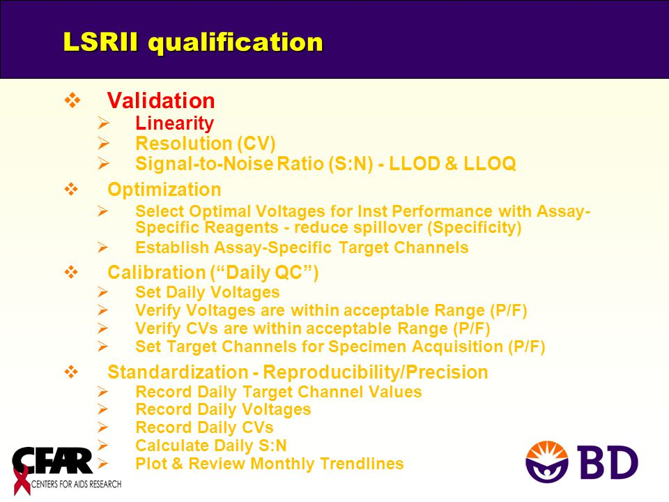 LSRII qualification Validation Linearity Resolution (CV)