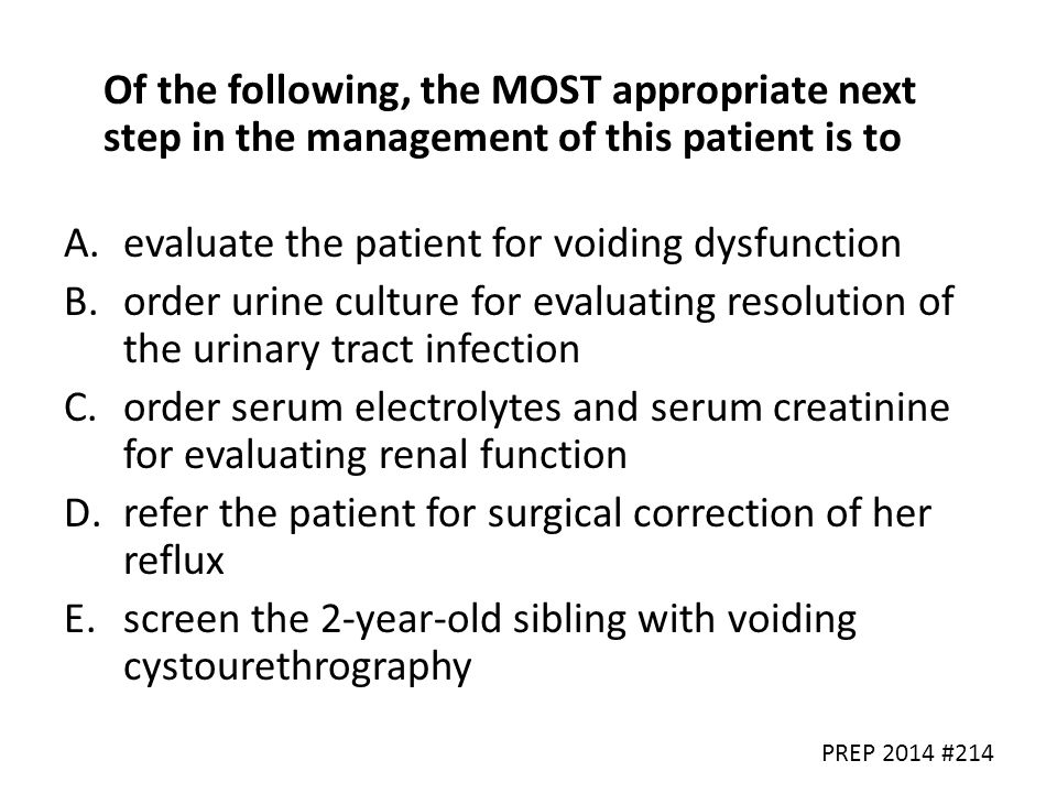 evaluate the patient for voiding dysfunction