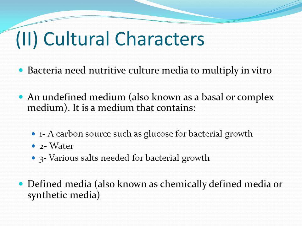 (II) Cultural Characters