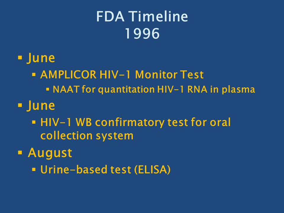 FDA Timeline 1996 June August AMPLICOR HIV-1 Monitor Test