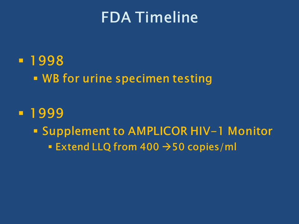 FDA Timeline 1998 1999 WB for urine specimen testing