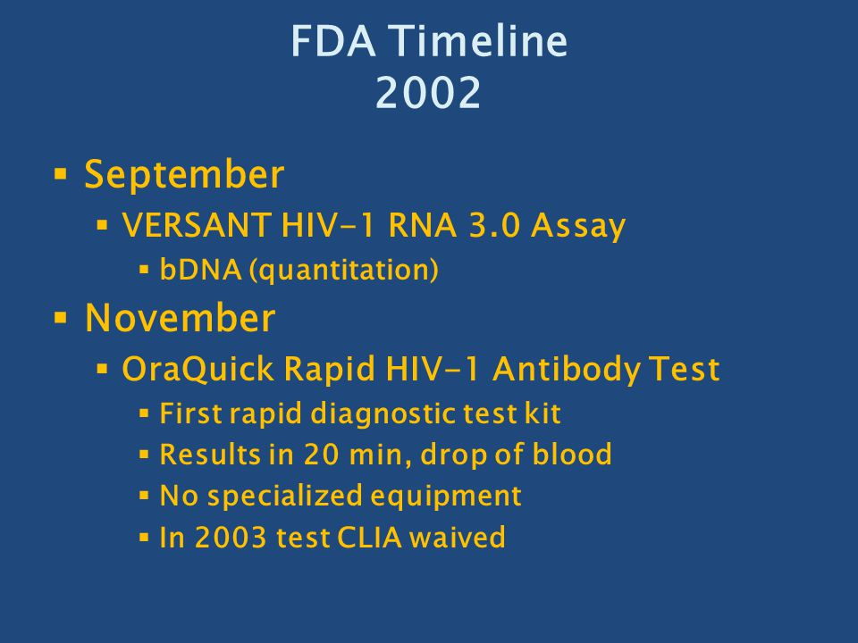 FDA Timeline 2002 September November VERSANT HIV-1 RNA 3.0 Assay
