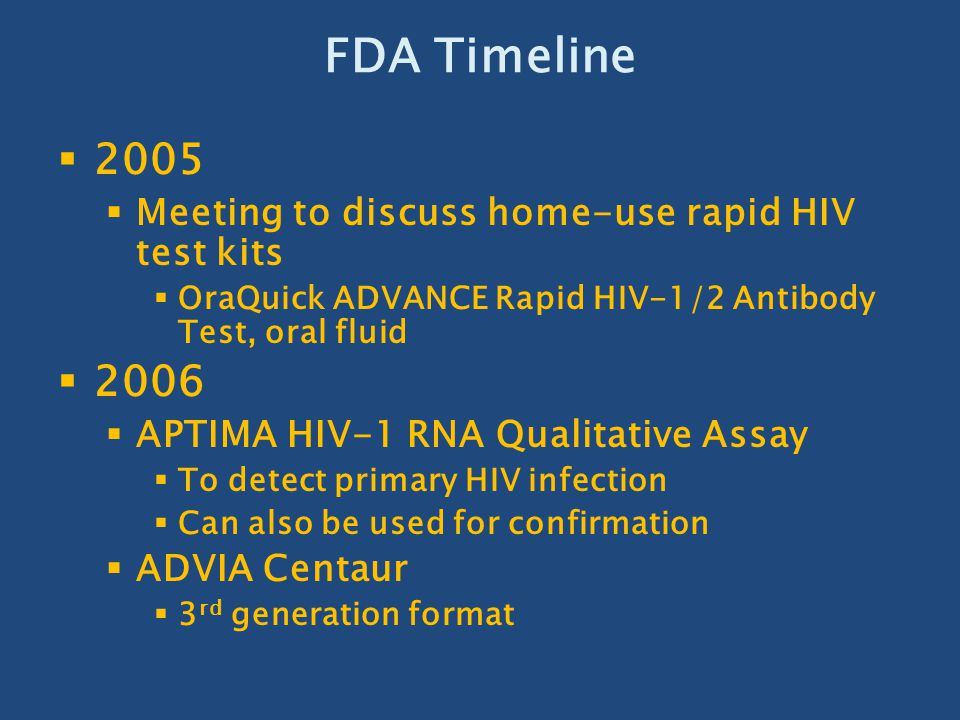 FDA Timeline 2005 2006 Meeting to discuss home-use rapid HIV test kits