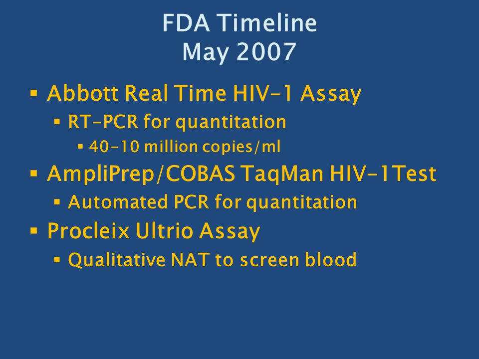 FDA Timeline May 2007 Abbott Real Time HIV-1 Assay