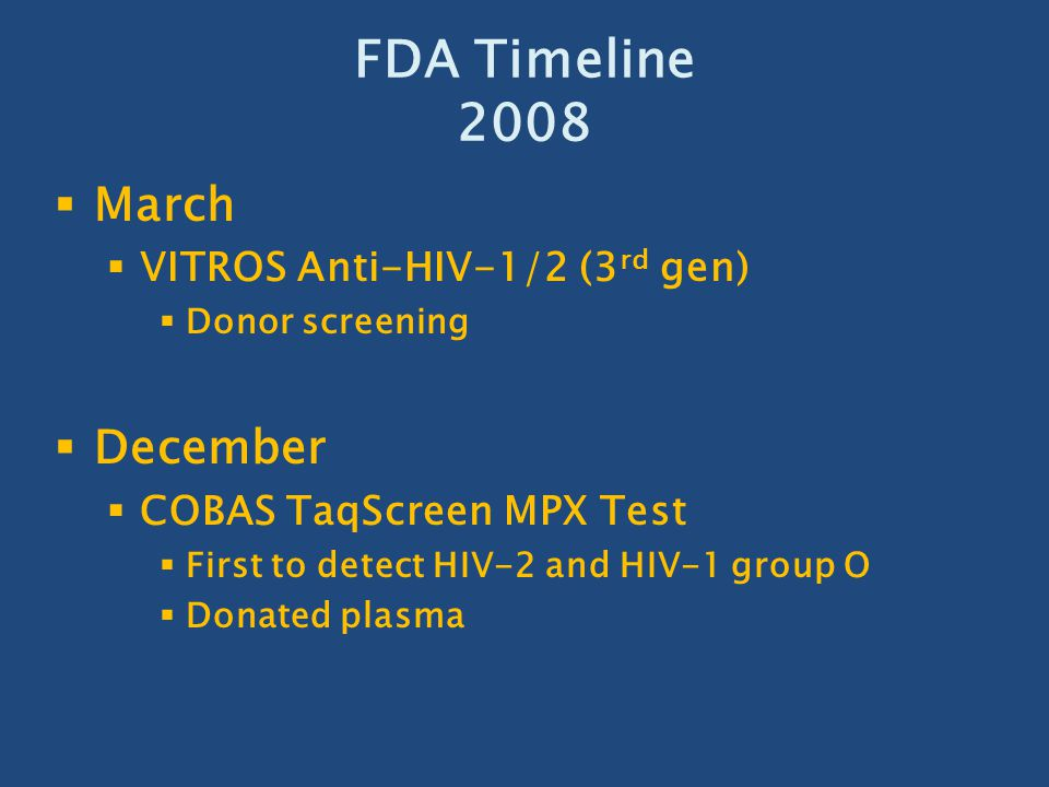 FDA Timeline 2008 March December VITROS Anti-HIV-1/2 (3rd gen)