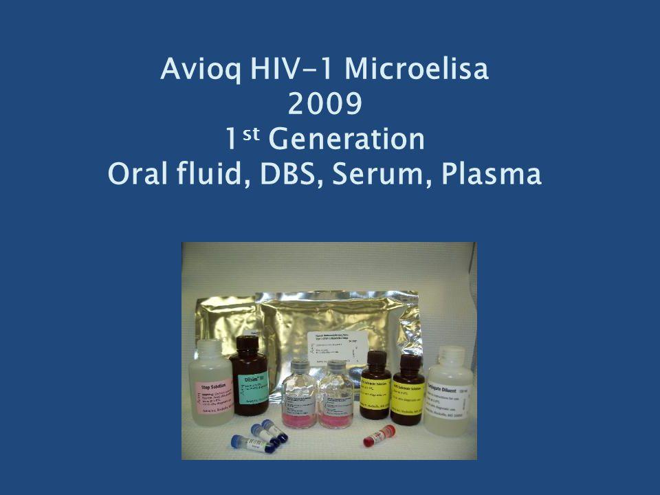 Avioq HIV-1 Microelisa 2009 1st Generation Oral fluid, DBS, Serum, Plasma