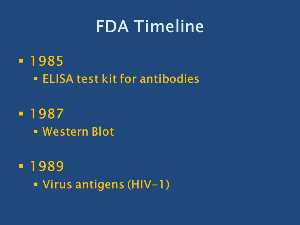 FDA Timeline 1985 1987 1989 ELISA test kit for antibodies Western Blot