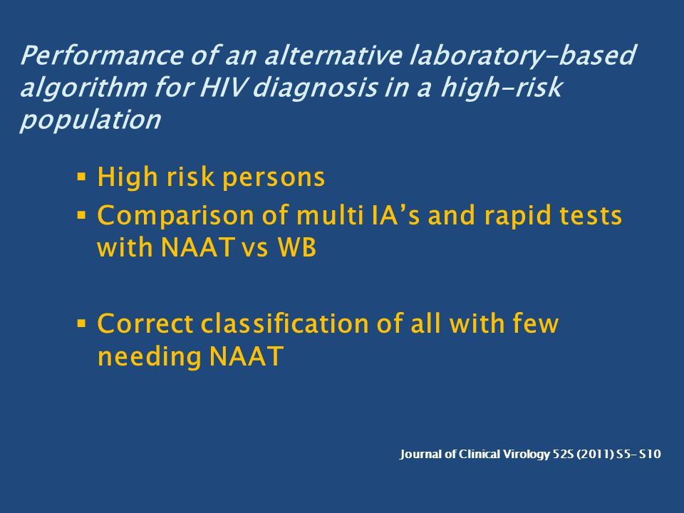 Comparison of multi IA's and rapid tests with NAAT vs WB