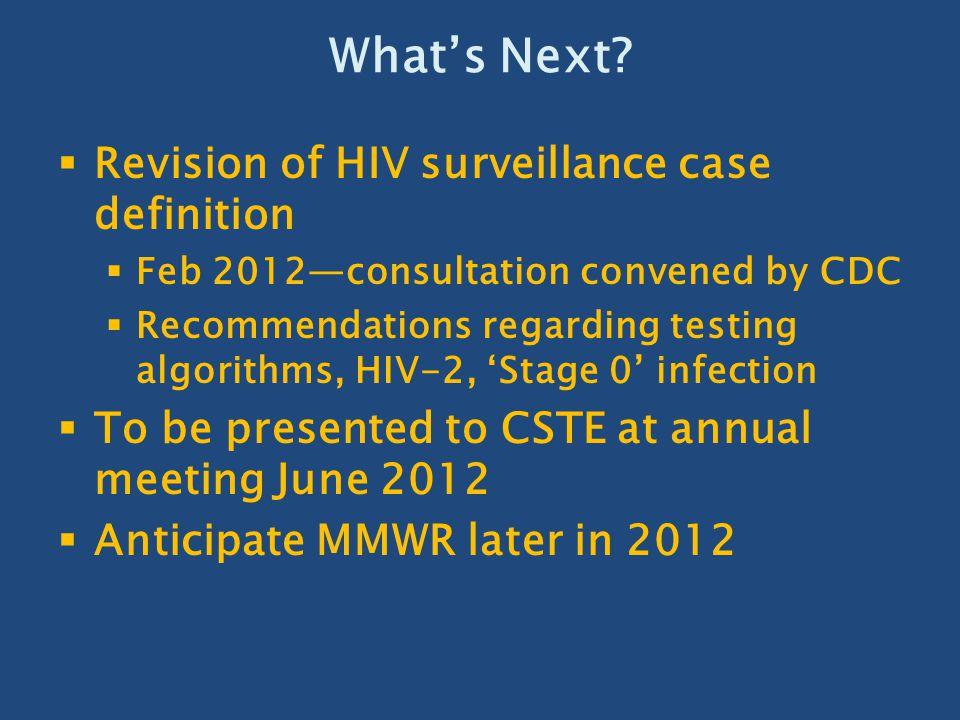What's Next Revision of HIV surveillance case definition